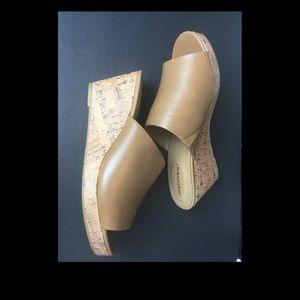 Comfortview Women's Tan Mule Shoes Cork Wedge New